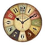 ROSENICE Horloge Pendule Murale avec Chiffres en Bois Silencieux Vintage Rustique Coloré