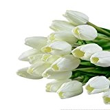 rosennie 10tulipes fleurs artificielles real touch Home Decor pour Bouquet de mariée, Blanc, Standard