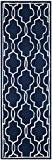 Safavieh CHT723C-27 Geneva Area Tapis Laine Bleu foncé/Ivoire 68 x 213 cm