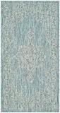 Safavieh CY8481-37121-3 Mirabelle Tapis d'intérieur/extérieur Matériel Synthétique/Polypropylène Aqua/Gris 78 x 152 cm