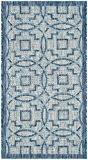 Safavieh CY8499-36812-2 Jade Tapis d'intérieur/extérieur Matériel Synthétique/Polypropylène Gris/Bleu marine 60 x 109 cm
