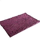 Saingace® 40 * 60cm doux shaggy non dérapant tapis de bain absorbant tapis de salle de douche tapis (Violet)