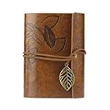Saingace® couverture en cuir feuille cru feuilles mobiles cahier vierge revue journal (marron)