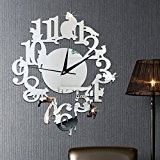 Saingace DIY Mode Miroir Chat Noir Unique Horloge Murale Design Moderne Sticker Mural Montre de Décoration (Argent)