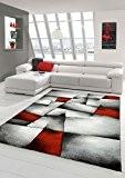 Salon Designer Tapis contemporain Tapis moquette à motif diamant contour de coupe Rouge Gris Blanc Noir Größe 160x230 cm