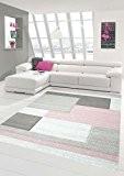 Salon Designer Tapis contemporain Tapis moquette avec des couleurs diamants contour coupées motif pastel rose crème Beige Größe 160x230 cm