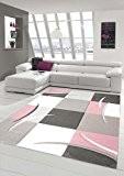 Salon Designer Tapis contemporain Tapis moquette avec des couleurs diamants contour coupées motif pastel rose crème Beige Gris foncé Größe ...