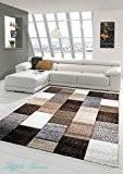 Salon Designer Tapis contemporain Tapis tapis à poils avec des diamants contour coupées motif brun gris crème Taupe Größe 200 ...
