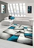 Salon Designer Tapis contemporain Tapis tapis à poils avec des diamants contour de coupe motif Turquoise Gris Blanc Noir Größe ...