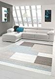 Salon Designer Tapis contemporain Tapis tapis à poils avec la couleur des diamants contour coupées motif pastel bleu crème Beige ...