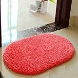 San Bodhi® Tapis de sol antidérapant et absorbant pour salle de bain, chambre à coucher - Ovale, rouge pastèque, 40*60cm