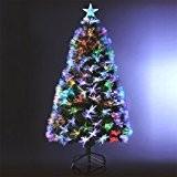 Sapin de Noël artificiel lumineux avec fibre optique + 136 LED MULTICOLORE + 8 Jeux de lumière - livré avec ...