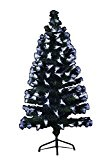Sapin de Noël artificiel lumineux en fibre optique + 88 LED + 8 Jeux de lumière - livré avec son ...