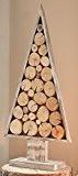 Sapin nature, déco rustique shabby chic, en bois de sapin cérusé blanc, décoré de bois flotté