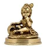 Sculpture dieu hindou Krishna avec la vache en laiton Metal Art de 10,16 cm