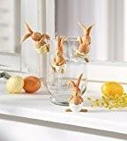 Série 4 suspensions lapins pour Vase, déco de pâques originales, polyrésine peinte de couleurs fraiches