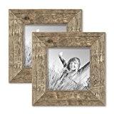 Set de 2 cadres photo 15x15 cm maison de plage rustique aspect chêne naturel bois massif avec vitre et accessoires ...