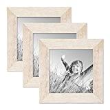 Set de 3 cadres photo 15x15 cm maison de plage rustique blanc bois massif avec vitre et accessoires / cadre ...