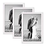 Set de 3 cadres photo chalet 20x30 cm blanc bois massif avec vitre