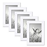 Set de 5 cadres photo 10x15 cm blanc moderne bois massif avec vitre et accessoires / cadre photo