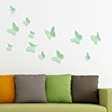 Set de papillons 3D - Vert clair - 12 pcs (Muraux Décoration Murale Stickers Wall Decal Autocollants Salon Chambre d'enfants ...