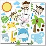 """Set de stickers muraux Wandkings """"Animaux bébés de safari """" - 40 autocollants sur 2 feuilles A4"""