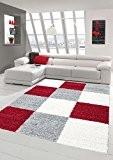 Shaggy tapis Shaggy pile longue tapis tapis de salon Patterned dans Karo design Gris Crème Rouge Größe 160x230 cm