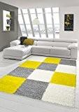 Shaggy tapis Shaggy pile longue tapis tapis de salon Patterned dans Karo design Gris Crème Jaune Größe 80x150 cm