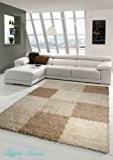 Shaggy tapis Shaggy pile longue tapis tapis de salon Patterned dans Karo Design Marron Taupe Beige Größe 160x230 cm