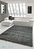 Shaggy tapis Shaggy pile longue tapis tapis de salon Patterned en Uni Conception Gris Größe 60x110 cm