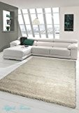 Shaggy tapis Shaggy pile longue tapis tapis de salon Patterned en Uni Design Cream Größe 200 x 290 cm
