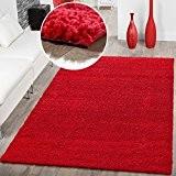 Shaggy Teppich Hochflor Langflor Teppiche Wohnzimmer Preishammer versch. Farben, Farbe:rot;Größe:120x170 cm
