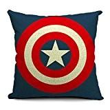 "SilkCrane Housse de Coussin, Captain America's shield Printed Cotton Linen Decorative Throw Pillow Cover, 17.7"" x 17.7"""