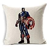 "SilkCrane Housse de Coussin, Geometric Abstract of Captain America Cotton Linen Decorative Throw Pillow Case Cushion Cover, 17.7"" x 17.7"""