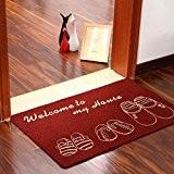 Simwood™ Grand paillasson antidérapant pour porte d'entrée Intérieur ou extérieur, Red, 60 x 90