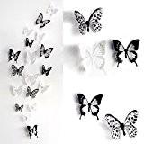 Skyblue-uk 18pcs Stickers Muraux de Papillons 3D Sticker Mural Autocollants Bricolage Papillon Amovible Reutilisable Pour Chambre Salon Room Decor Decal