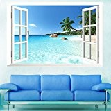 Skyllc® Grande Plage amovible Fenêtre 3D Sea View Scenery Wallpaper Wall Sticker