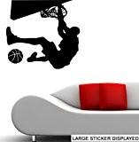Slam Dunk-Ballon de Basketball-Stickers muraux en vinyle-Noir-Taille L 86 x 86 cm