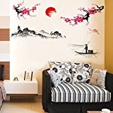 Soleil prunes Fleurs Bateau Arbre Tour en PVC Sticker mural Sticker Home murales en vinyle Papier peint papier Décoration Maison ...