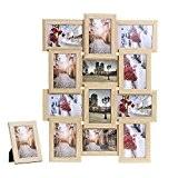 Songmics Cadre Photo Pêle-mêle Mural Capacité de 12 Photos couleur de bois +1 cadre photo sur table offert bois naturel ...