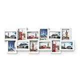 Songmics Cadre Photo Pêle-mêle Mural en MDF Capacité de 12 Photos 10 x 15 cm Blanc RPF22W