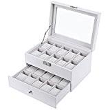 Songmics Prsenter Présentoir Coffret Boîte à montre 20 montres Blanc JWB201