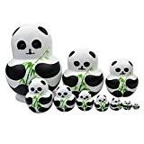 Souarts Matriochka Poupées Russes Motif Animals Panda Bois 10Pcs