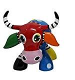 Statue de vache multicolore en résine, pour collection ou décoration, longueur 13 centimètres