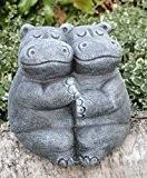 Statue en pierre couple d'hippopotames, gris ardoise, pierre reconstituée