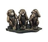 Statuette 3 Singes de la sagesse en résine, L 27 cm