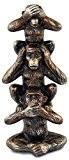 Statuette Totem 3 Singes de la sagesse en résine, H 20 cm
