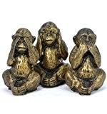"""Statuettes """"Les 3 singes de la sagesse"""" en résine H7cm"""