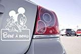 Sticker Bébé à Bord Mini Mikey Walt Disney - 13cm x 15cm, Blanc