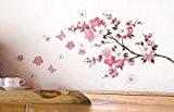 "Sticker mural Ddlbiz Adhésifs muraux, Papier Peint ""Fleur Rose Papillon"" Décor Mural"